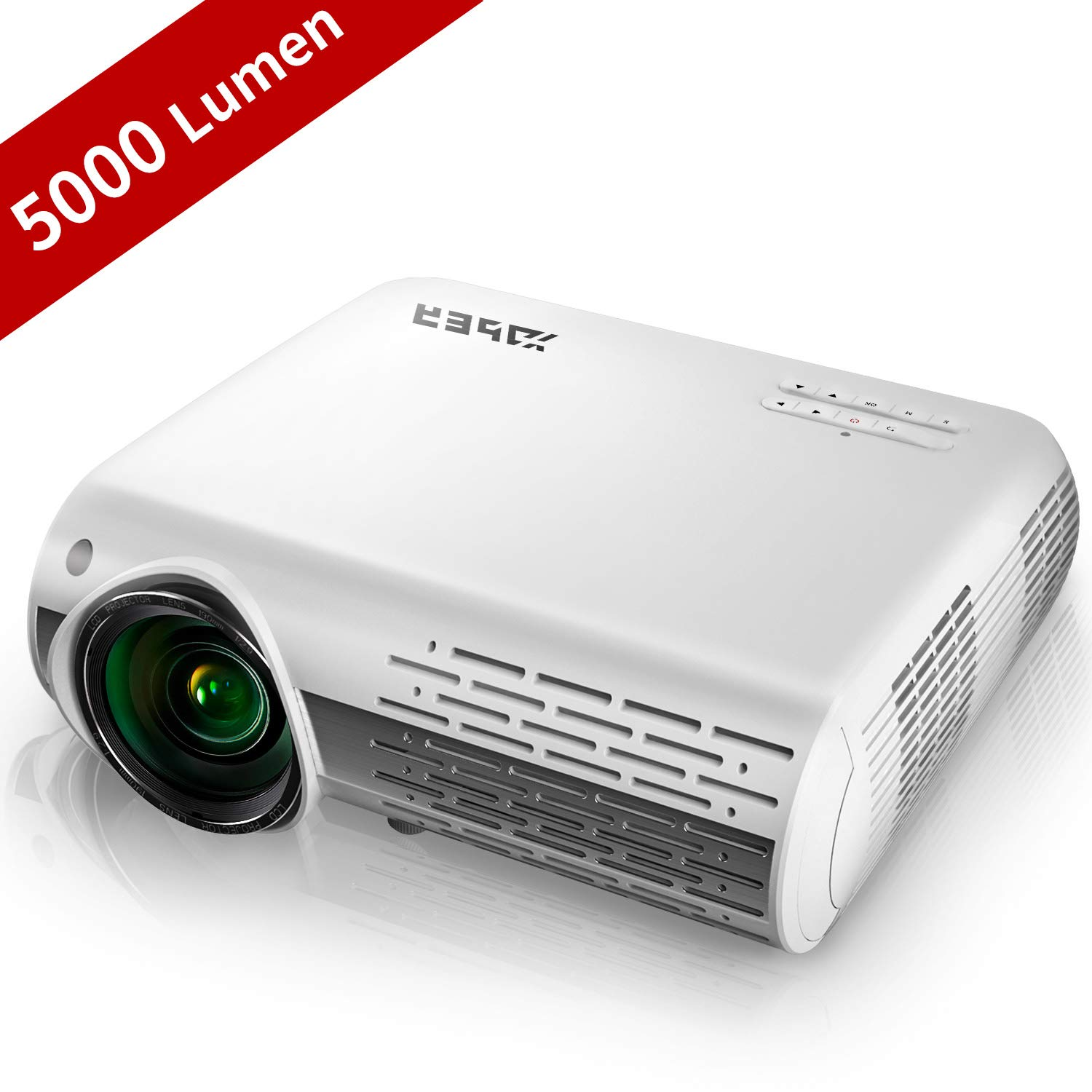 YABER Native 1080P Projector 5000 Lumens Full HD Video Projector (1920 x 1080), ±50° 4D Keystone Correction,LCD LED Home & Outdoor Projector Compatible with iPhone,Android,PC,TV Box,PS4