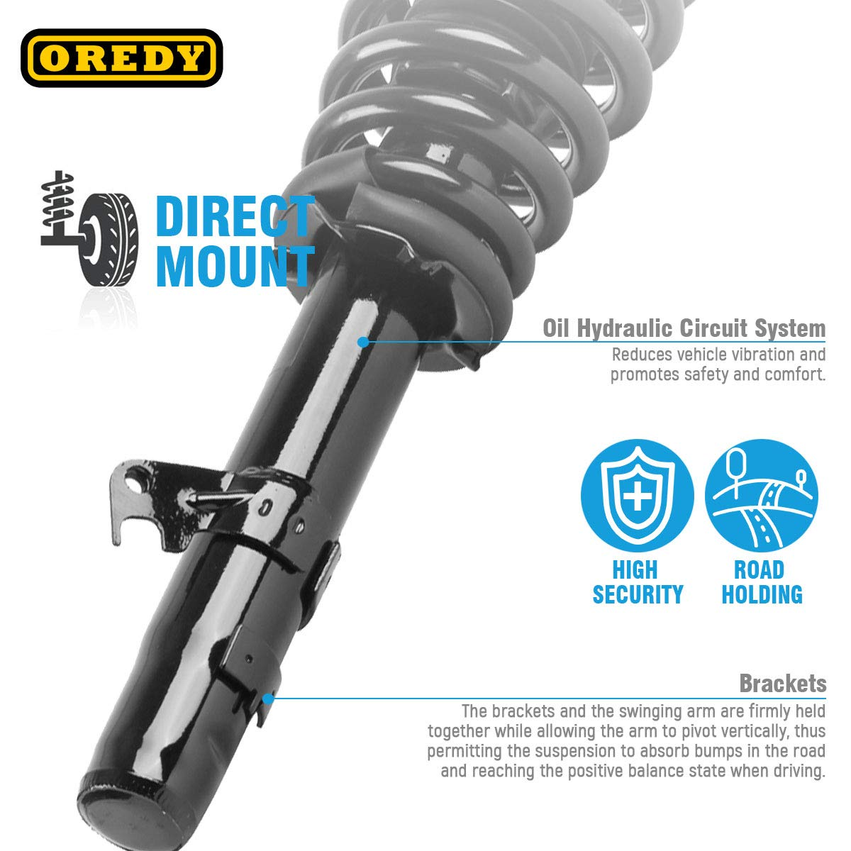 OREDY Front Pair Complete Struts Assembly Shocks Coil Spring Assembly Kit 172261 2335543L 2335543R 11990A Replacement for Ford Fusion V6 2006-2012 Compatible with Mercury Milan V6 2006-2011