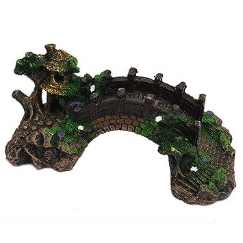 Vipithy Paisajismo Puente Resina Puente Acuario Decoración Fish Tank Ornament