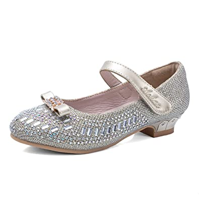 da21b44a854 Image Unavailable. Image not available for. Color  CYBLING Girls Sparkle  Mary Jane Low Heels Princess Dress Shoes ...