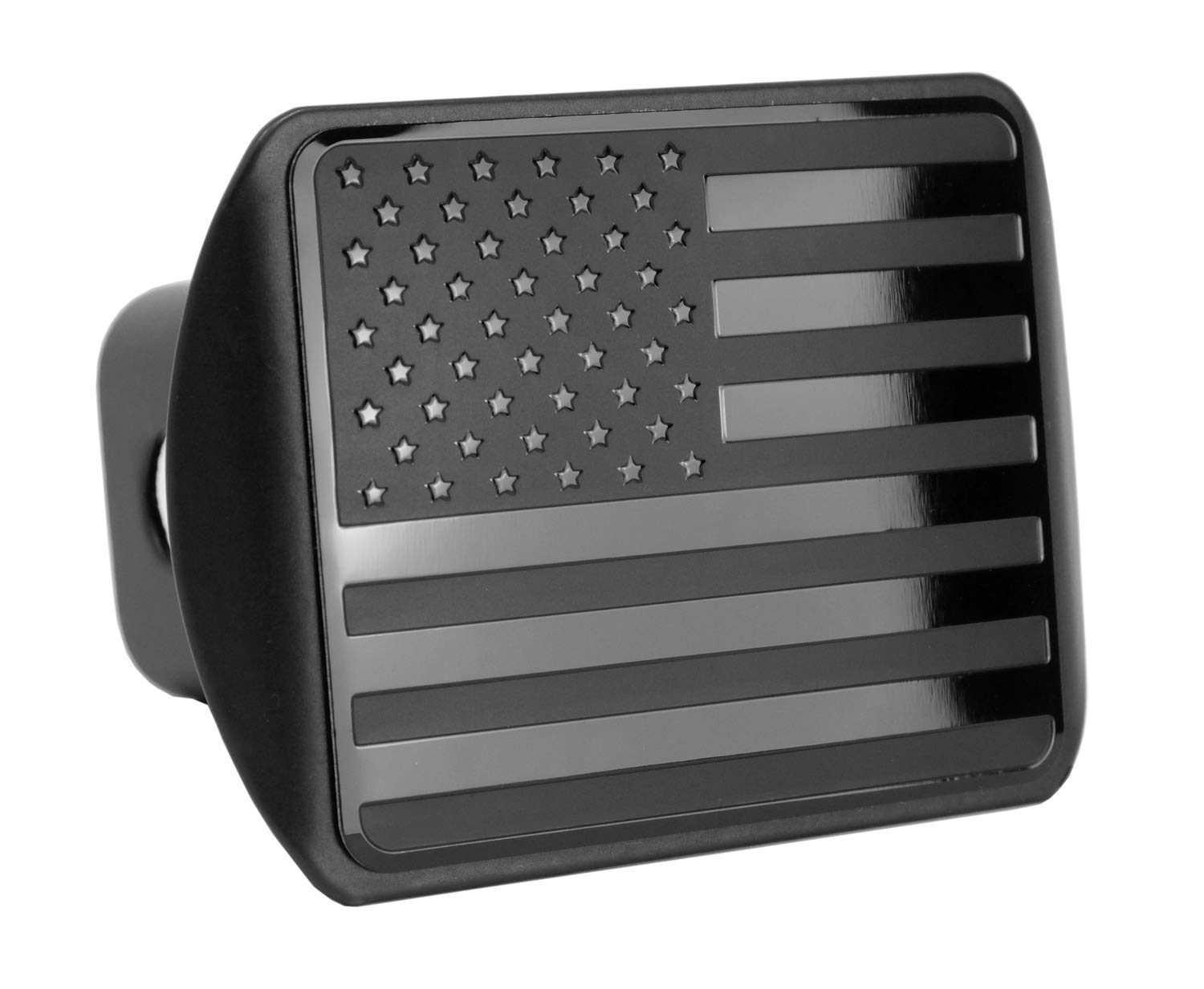 USA US American Stainless Steel Flag Metal Emblem on Metal Trailer Hitch Cover (Fits 2'' Receivers, Black) by eVerHITCH