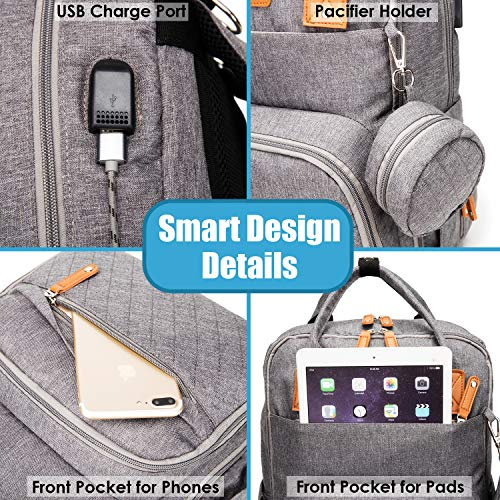 Diaper Bag Backpack, Ankommling Large Multifunction Baby Bags Organizer, Tactical Travel Back Pack with Changing Pad, Pacifier Holder, Bottle Warmer, Stroller Straps and USB Charging Port, Dark Gray