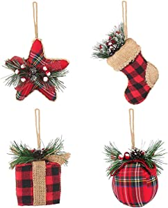 Buffalo Plaid Christmas Ornaments - Red Black Buffalo Plaid Christmas Hanging Decorations Includes Stocking Ball Star Gift - Buffalo Plaid Ornament 4Pcs for Christmas Tree Holiday Party Home Décor