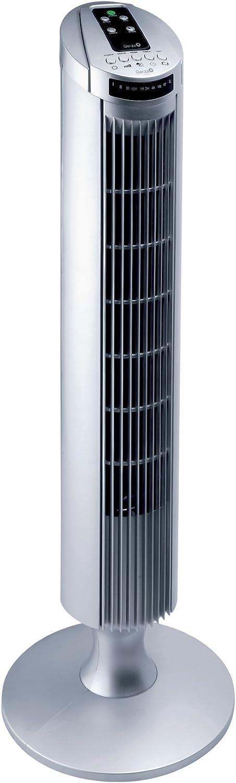 Garza Alisio - Ventilador de torre de pie silencioso con 45W de potencia, 3 velocidades,3 modos de funcionamiento, función oscilante, asa para fácil transporte, temporizador de hasta 7,5 horas y con