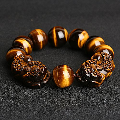 Master Hand sanding natural yellow Tiger Eye Bracelet with Brave troops