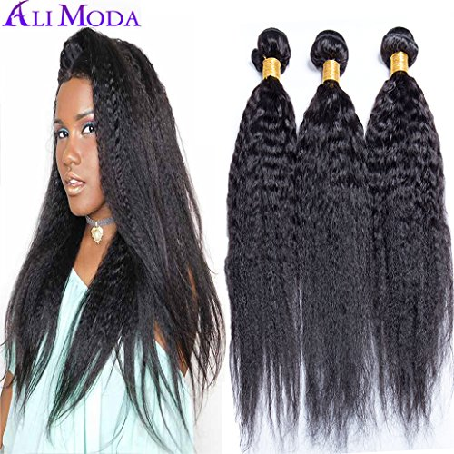 Ali Moda Brazilian 8A Yaki Kinky Straight Hair 3 Bundles 100% Unprocessed Human Hair Weave Extensions Natural Color (18 16 14)
