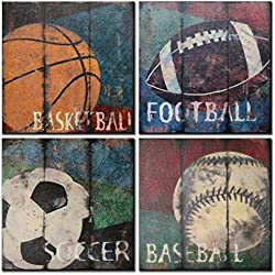Natural art Soccer Football Sports Themed Canvas Room Baby Nursery Wall Decor Basketball Boys Gift, 12x12inx4pcs, Blue