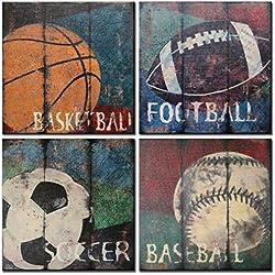 Natural art Soccer Football Sports Themed Canvas Room Baby Nursery Wall Decor Basketball Boys Gift, 12x12inx4pcs, Blue