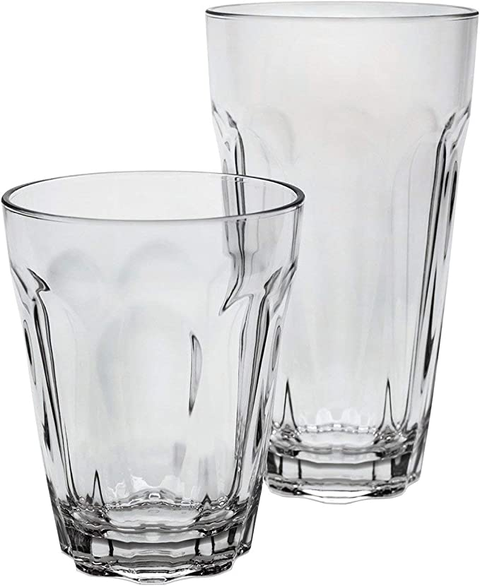 Tritan Highball and DOF Tumbler Set Fluted Clear 12 Pack