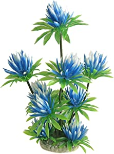uxcell Aquarium Fish Tank Plastic Water Lily Plant Decor Sky Blue Green 10