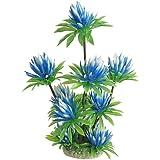 uxcell Aquarium Fish Tank Plastic Water Lily Plant Decor, 10-Inch, Sky Blue Green