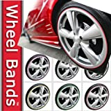 Wheel Bands Rim Protector - Red W/ Silver Track