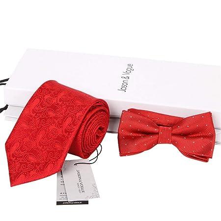 Andre Corbata de Lazo de Punto Rojo de 8 cm con Corbata de Lazo de ...