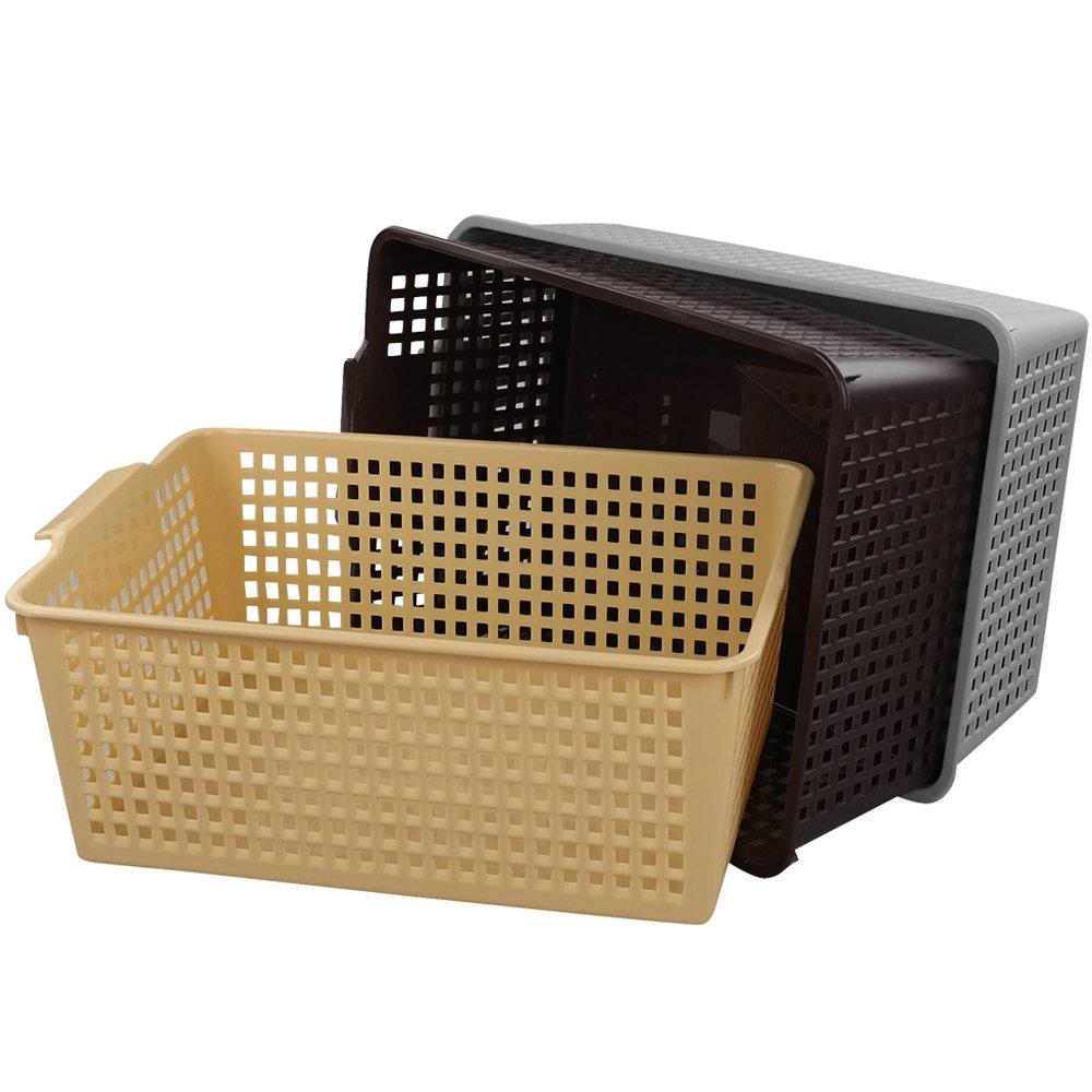 Jekiyo Plastic Storage Basket Bins, Large, 3-Pack(14 Quart)