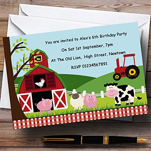 Farm Animals Farmyard Theme Personalized Birthday Party Invitations