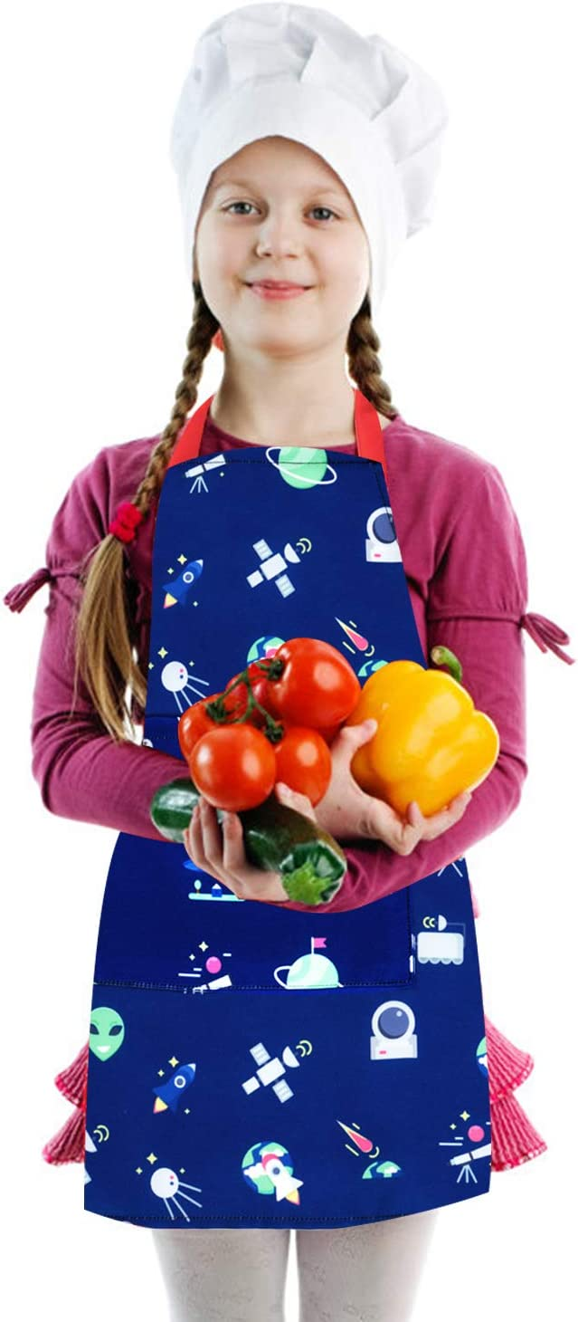 Boys Apron Child Size Apron Cotton Canvas Children Artists Aprons with Adjustable Neck Strap for Cooking Baking Painting Gardening School Kitchen Blue+Dinosaur,S Fiodrimy Aprons for Kids Girls