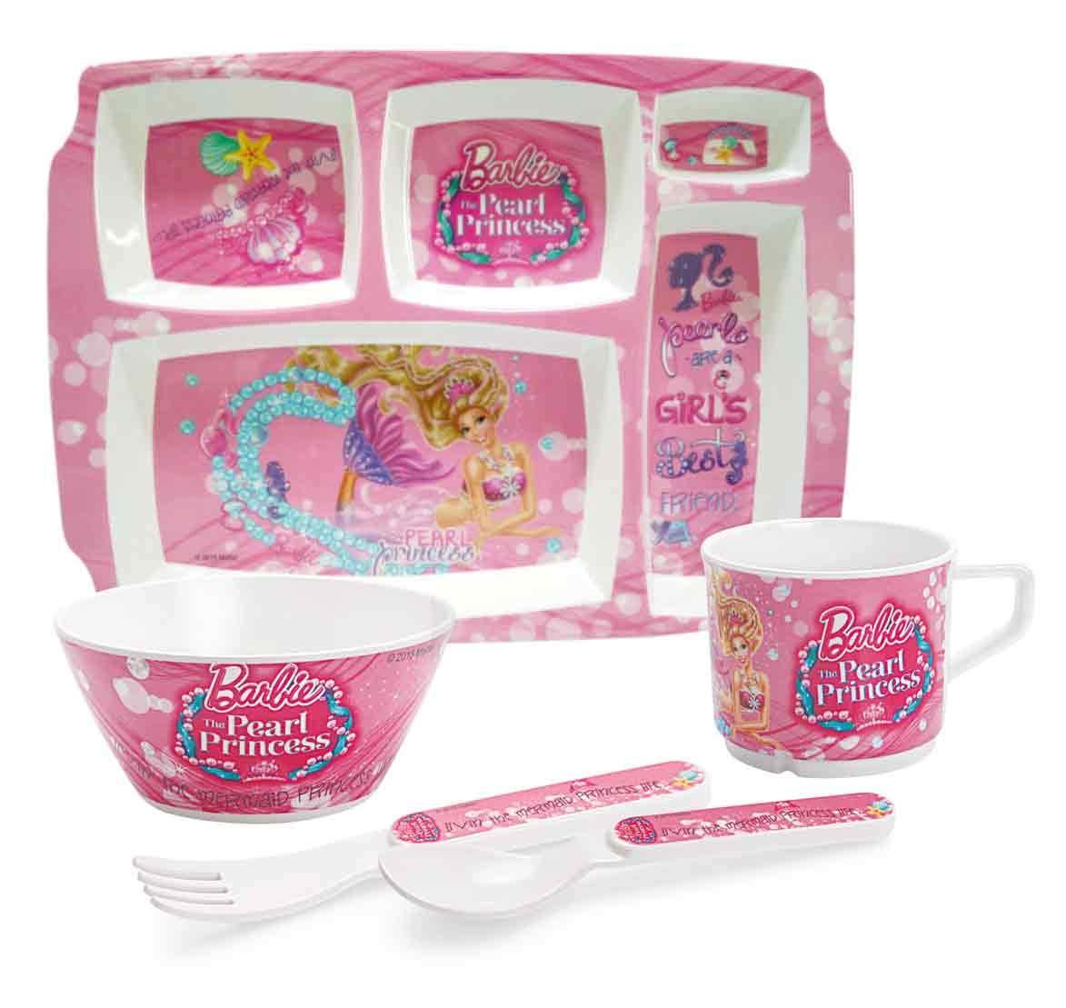 Cello Melmoware Rectangular Pearl Princess Barbie Fabulous Meal Set, Set of 5