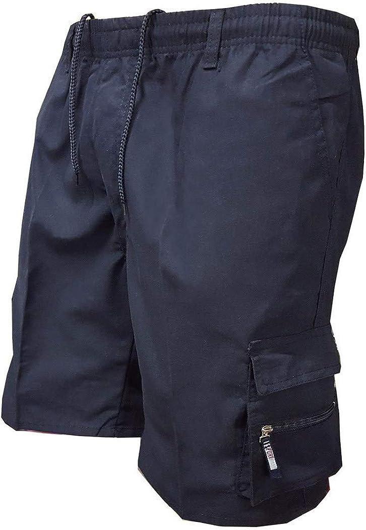 RoseFang Knee Length Military Shorts Loose Shorts Mens Multi Pocket Cargo Shorts Casual Cotton