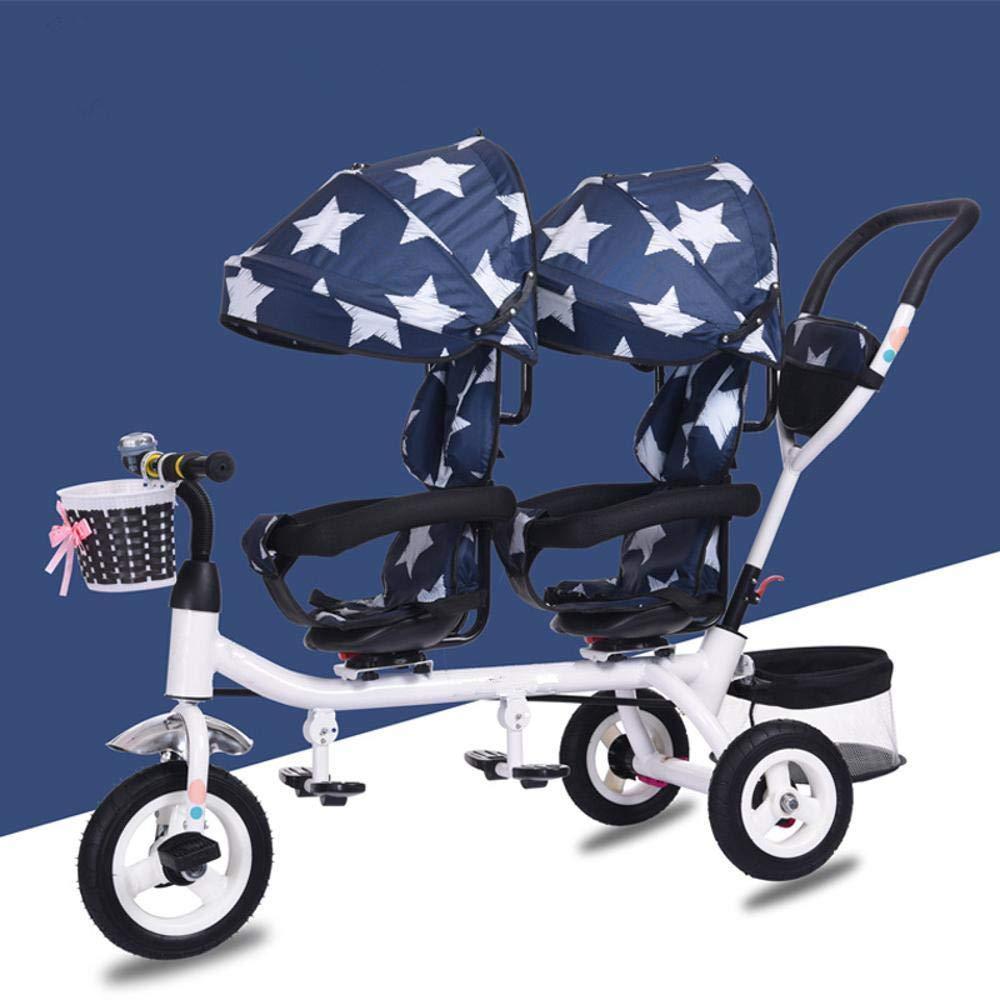 SKYyao Silla de Paseo,Cochecito,Triciclo Infantil Doble Silla de Paseo Doble Asiento Giratorio con un Solo botón bebé Plegable Pedal Bicicleta: Amazon.es: ...