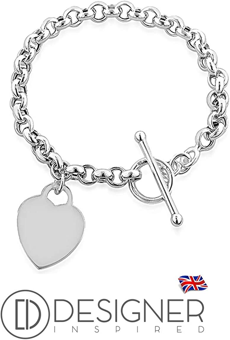 Designer Inspired Heart Charm Toggle T Bar Rolo Tag Bracelet Sterling Silver Plated 925 8 Inch