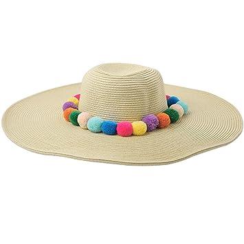 eb77460fba3 Amazon.com  Lukalook Womens Straw Sun Hat - Beach Summer Fluffy Pom ...