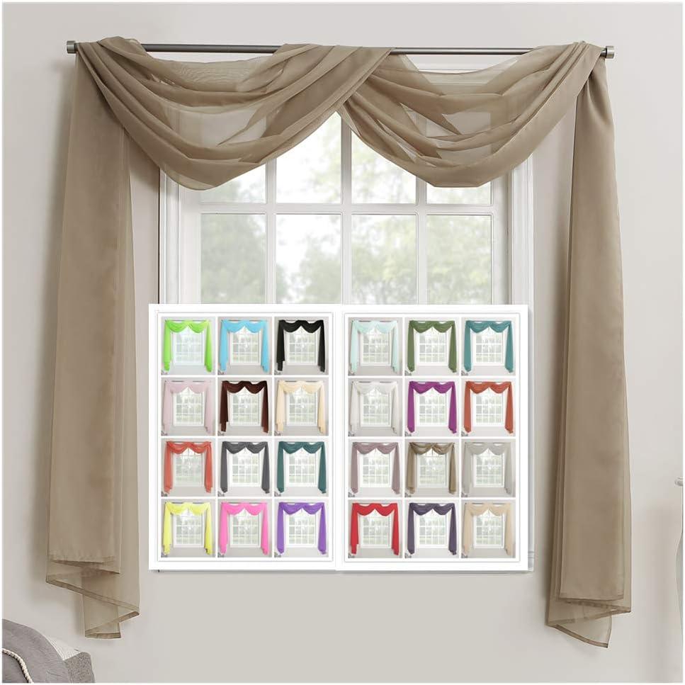 26 colori a scelta 145cmX300cm Poliestere 57X118 Voile Verde mela Megachest Mantovana per finestra in voile