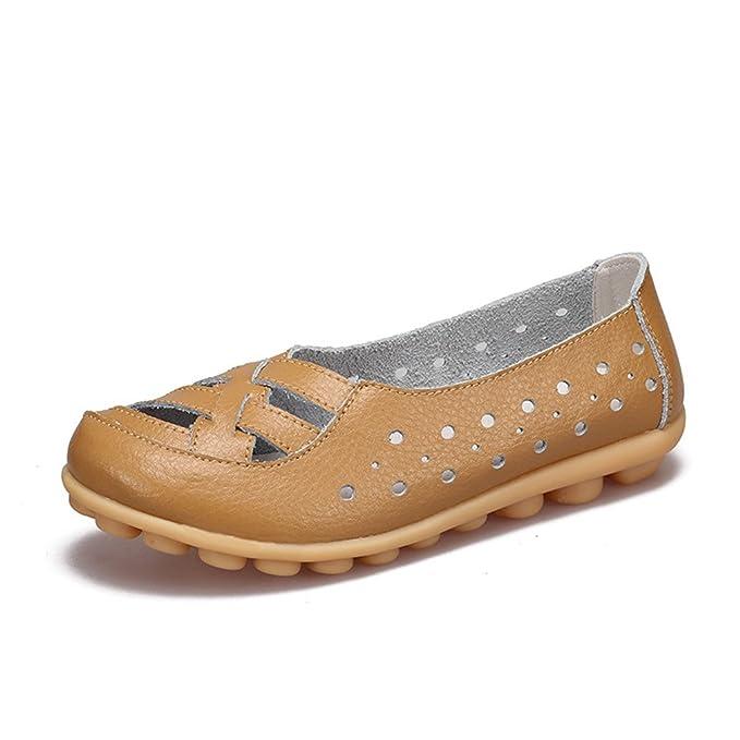 Zapatos de mujer Zapatos de mujer Mocasines Zapatos de mujer Zapatos de ballet antideslizantes Zapatos de cuero de vaca genuinos Calzado Khaki 5: Amazon.es: ...