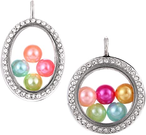 Four Colors Beads Cage Glass Locket Pearl Cage Floating Pendant Gift Charms