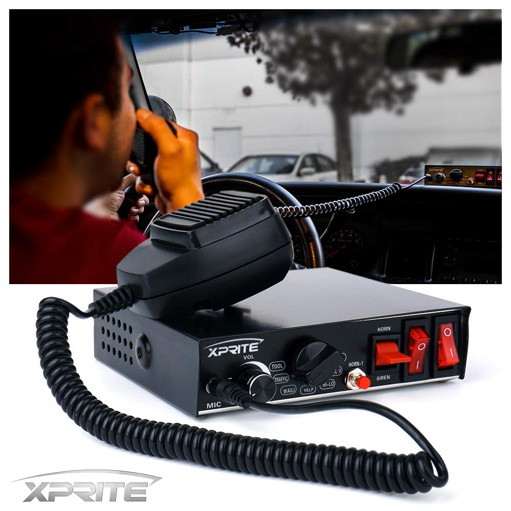Xprite 200 Watt 8 Tones Emergency Warning Siren PA System Kit w/Handheld Microphone & Light Control Switches (Speaker Not Included) by Xprite