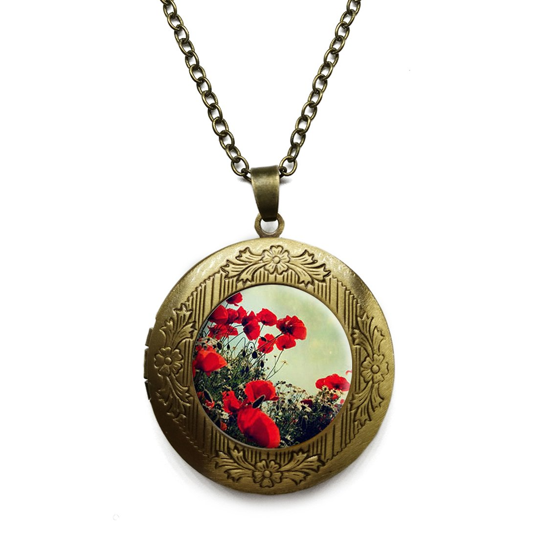 Vintage Bronze Tone Locket Picture Pendant Necklace Bright Color Flower Included Free Brass Chain Gifts Personalized LooPoP CXC0622LooP-KF-LSZBS-0207