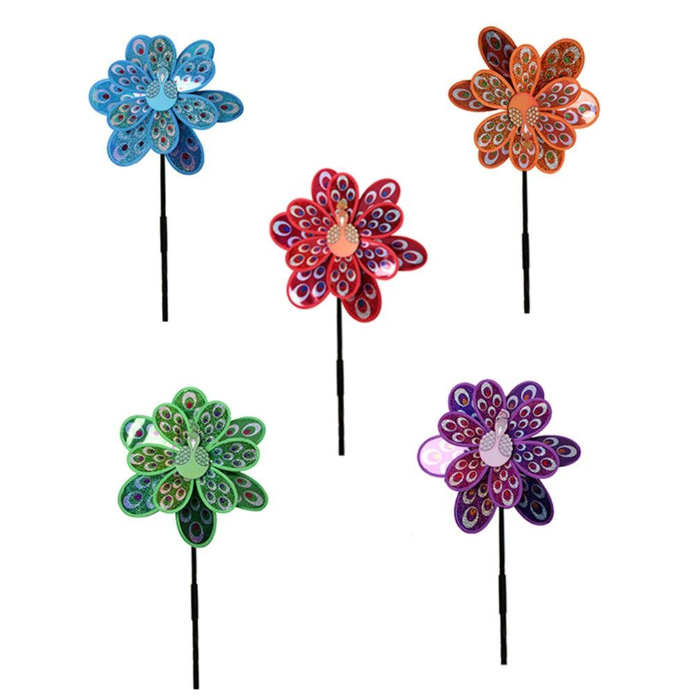 Waroomss Outdoor Wind Spinner Double Layer Peacock Laser Glitter Windmill Colorful Wind Spinner for Home Garden Yard Decor Children Toy Purple