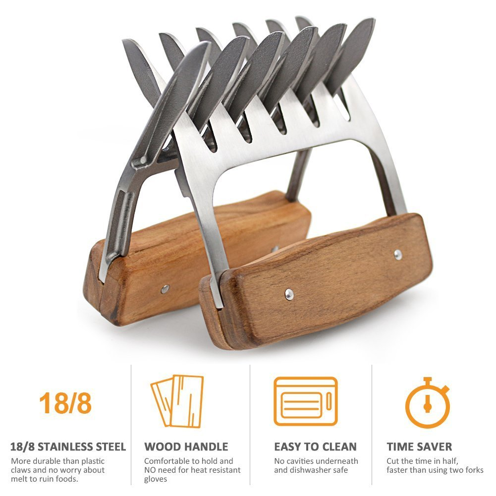 Metal Meat Claws, 1Easylife 18/8 Stainless Steel Meat Forks with Wooden Handle, Best Meat Claws for Shredding, Pulling, Handing, Lifting & Serving Pork, Turkey, Chicken, Brisket (2 Pcs,BPA Free) by 1Easylife (Image #2)