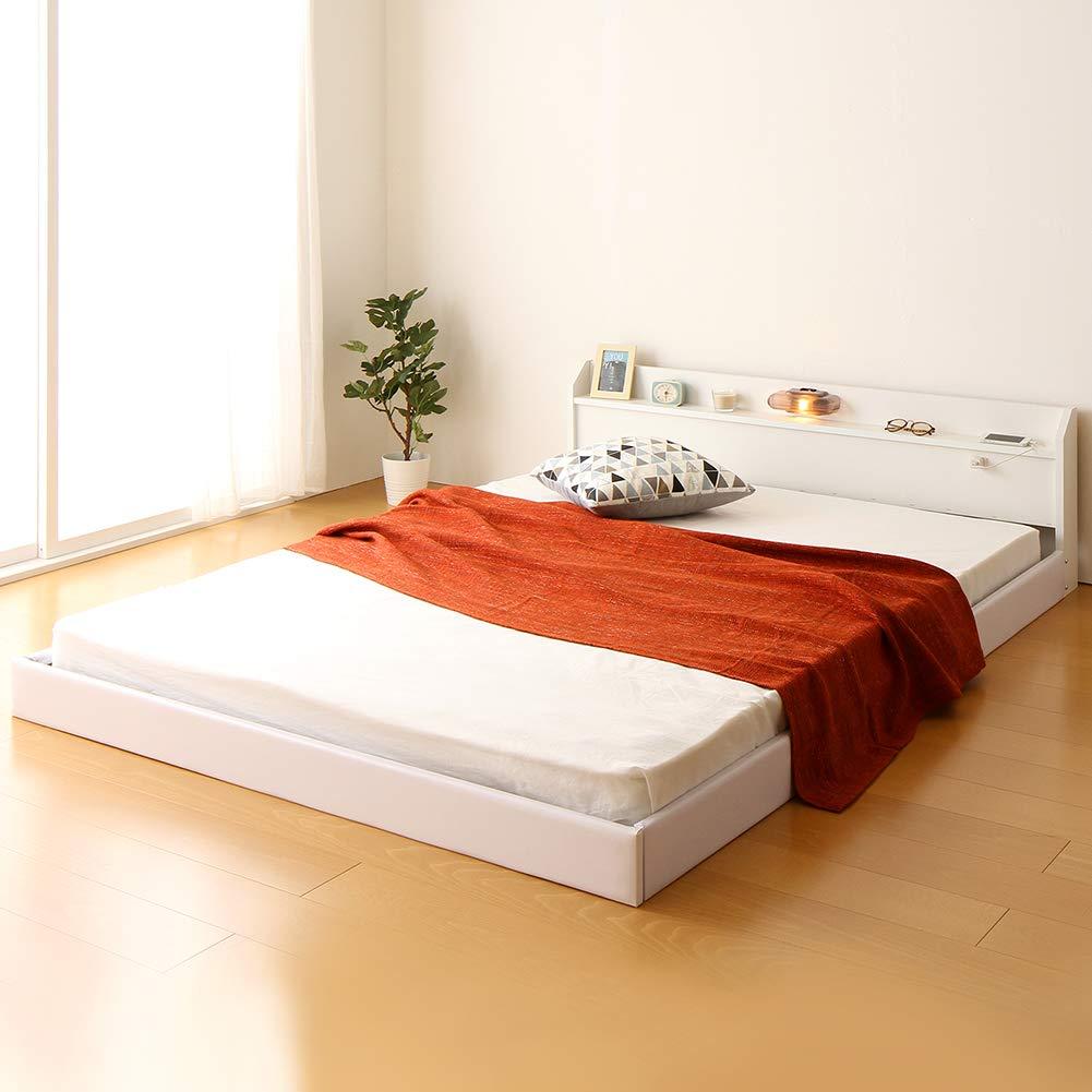 日本製 連結ベッド 照明付き フロアベッド ワイドキングサイズ220cm(S+SD) (フレームのみ)『Tonarine』トナリネ ホワイト 白 B07931G579