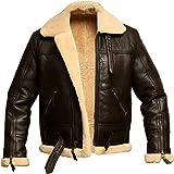 Men RAF Aviator Bomber Real Shearling Sheepskin Leather Jacket
