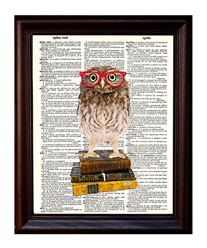 Dictionary Art Print - Owl Smarty Pants Nerdy Young Owl with Red Glasses Illustration - Printed on Recycled Vintage Dictionary Paper - 8.5