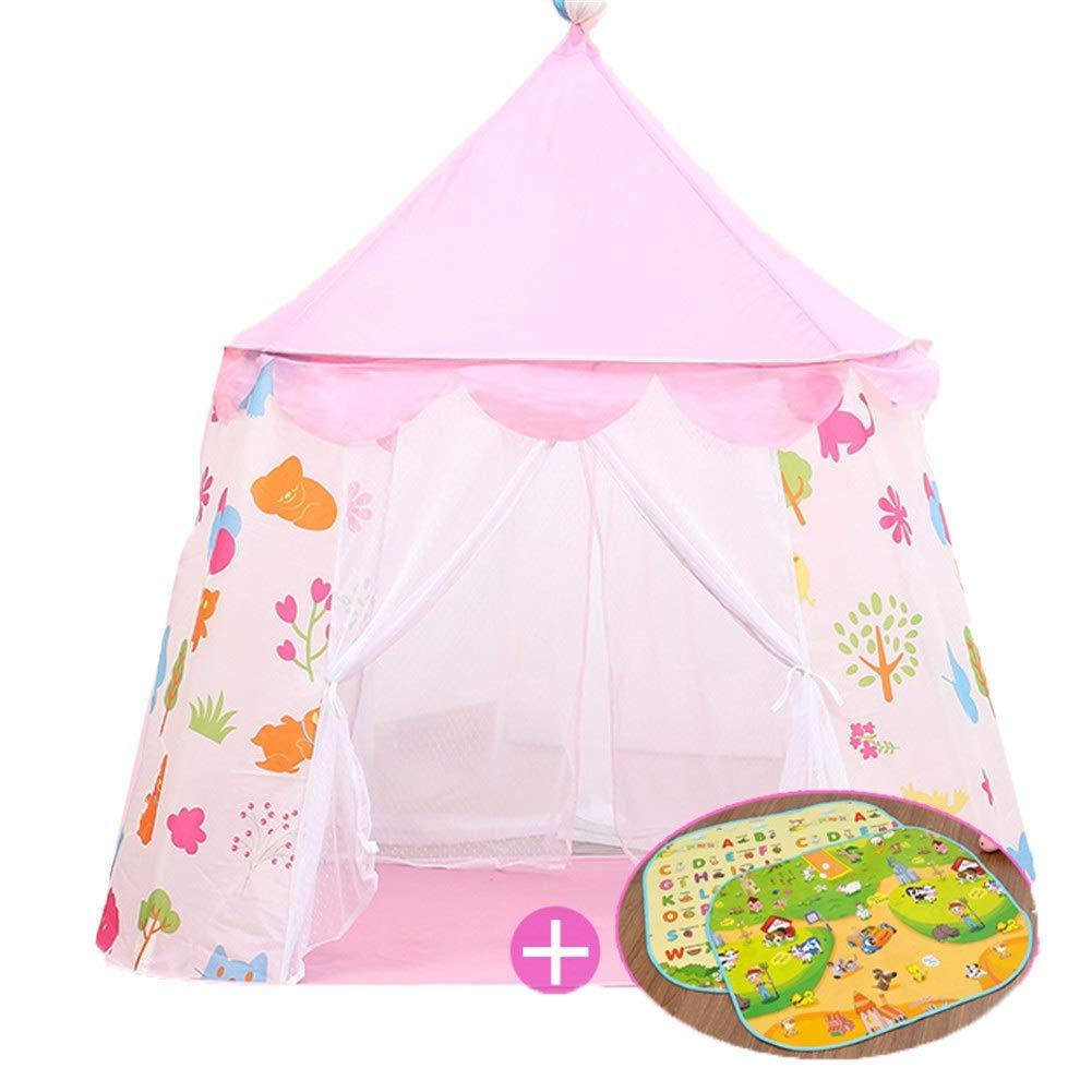 プレイテント プリンセスキャッスル ポータブルプレイハウス ポップアップテント 子供用 屋内屋外ゲーム 簡単組み立て (カラー:ピンク) B07Q4J6FN9