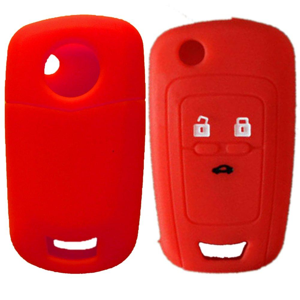 Nicky Rojo Funda de Silicona para Opel 3 Botones Llave Plegable Cubierta de Control Remoto Autom/ático