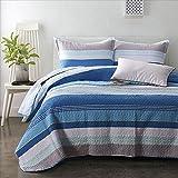 Blue Striped 3 Pieces Quilt Set 100% Cotton Tideway Bedspreads King Size