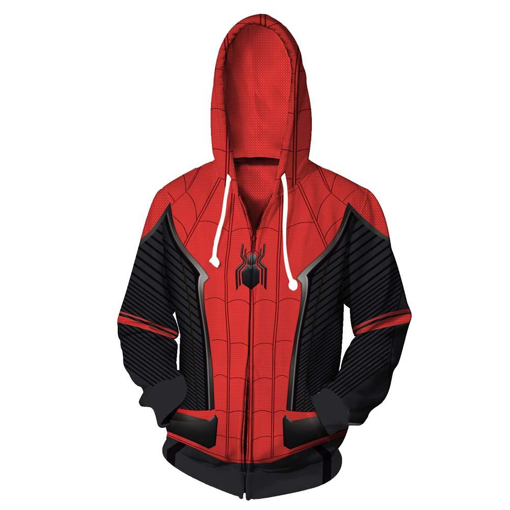 Xinhua488 1 Pcs Spider-Man Spider Man Hoodie-Cool Funny Tops Full Zip Coat Jacket Sweatshirt,Superhero Hooded Jacket Zipper Coat Cosplay 2XL