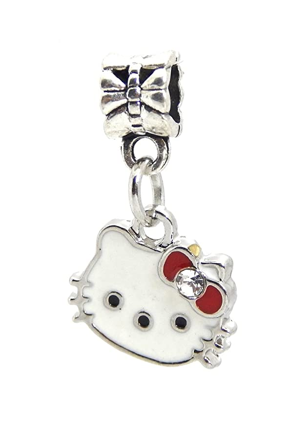 0b0cf9494 Amazon.com: J&M Hello Kitty with Crystal Red Bow Charm Bead for Bracelets:  Arts, Crafts & Sewing