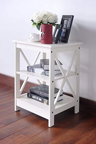 RAAMZO White Finish Wooden X-Design Chair Side End Table
