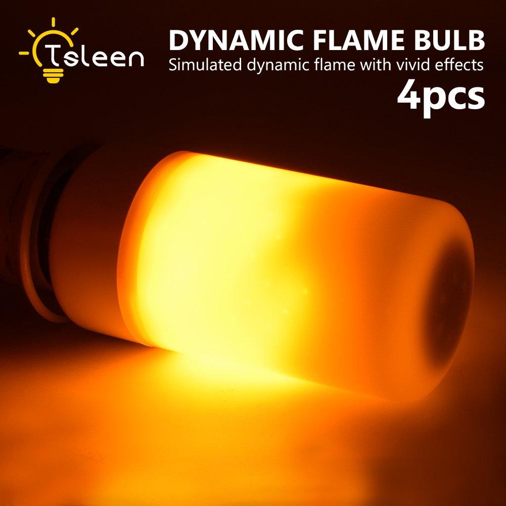 E26 110V Dynamic Flame Effect Bar Light LED Corn Bulb Church Castle Lamp X4