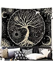 Susimond Tree of Life Tapestry, Black and White Starry Tapestry, Aesthetic Wall Hanging Tapestries, Home Decor Tapestry for Bedroom, Living Room, Dorm