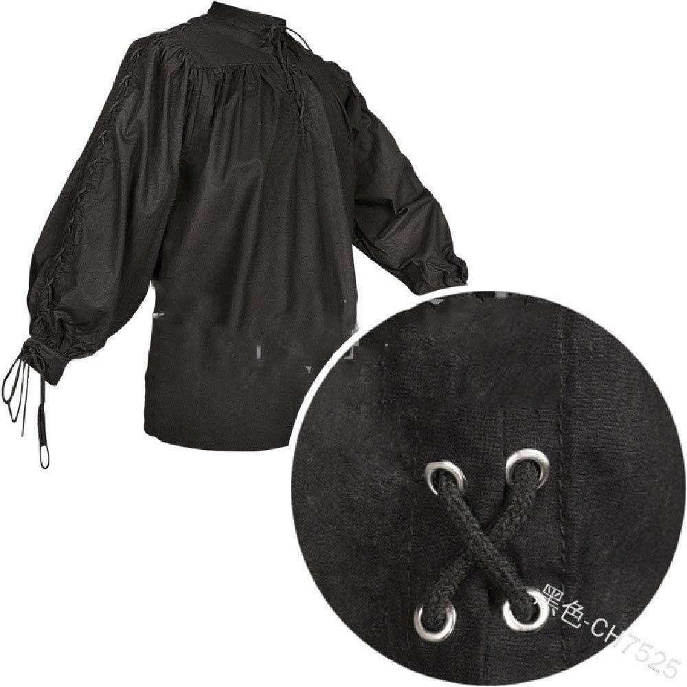 Doufine Camisa gótica de Manga Larga con Cuello de Mandarina Medieval de algodón para Hombre Negro Negro (Medium: Amazon.es: Ropa y accesorios