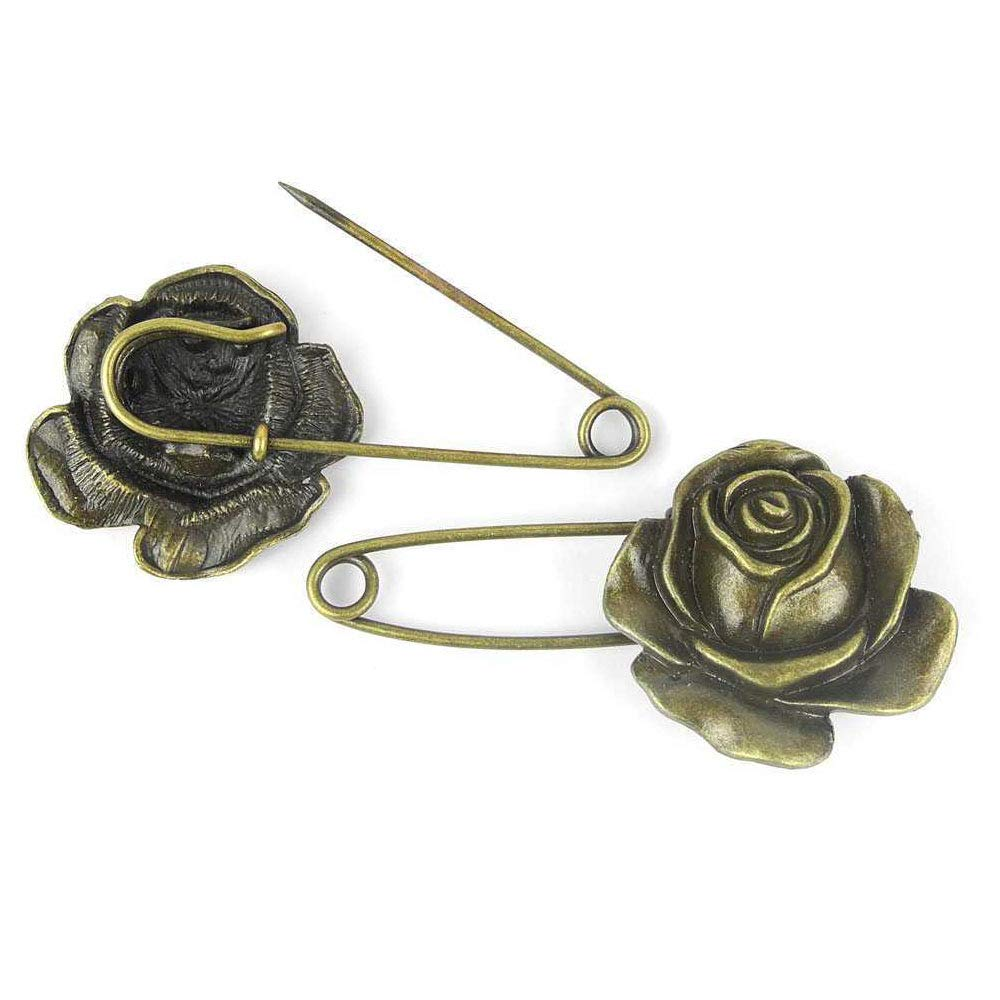 Price per 200 Pieces Antique Bronze Tone Jewelry Charms Findings Arts Crafts Beading Making Charmes 832313 Rose Safety Pins Brooch by ebemallmall Charms (Image #1)
