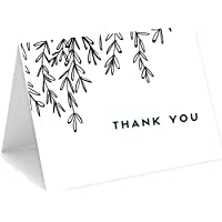 """Ofelia & Co. 25 Thank You Cards With Black Branches And Leaves, 4""""x6"""" Card with White Envelopes Bold Font Blank Canvas…"""