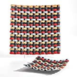 Mid Century Modern Woven Glass Charger Plate | Basket Weave Red Black Yellow Square
