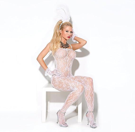 ef046b7b7c2 Amazon.com  Elegant Moments Women s Lace Bodystocking with Open Crotch