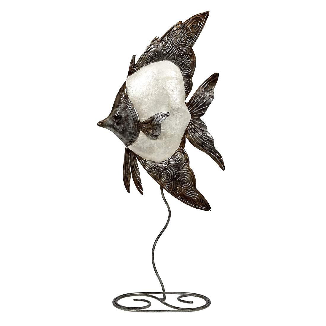 "Capiz Shell Art | Metal White Angelfish Sculpture on Stand | 9x20"" | Capiz Fish for Home Décor | Plus Free Nautical eBook by Joseph Rains"