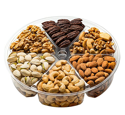 Freshly Roasted 6 Mixed Nuts Gift Tray | Healthy & Gourmet Snacks, Almonds, Pistachios, Cashews, Walnuts, Honey Glazed Pecans,Mixed Nuts, ...